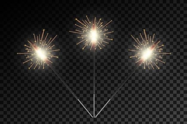 Feu de bengale de noël lueur des étincelles de lumière