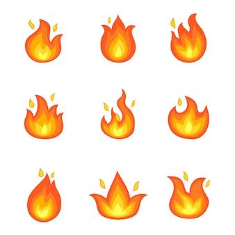 Feu brûlant ensemble d'icônes