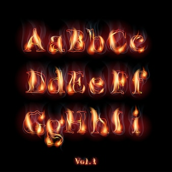 Feu brûlant des lettres de l'alphabet latin.