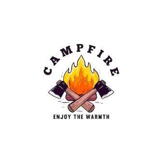Feu de camp appréciez l'affiche de t-shirt de conception d'illustration de chaleur