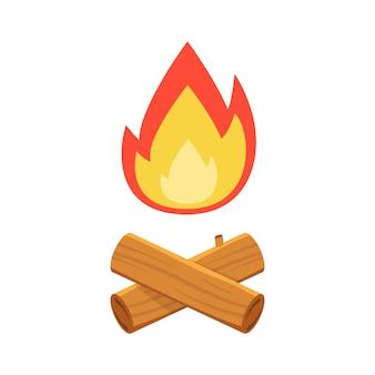 Feu de camp avec bois de chauffage