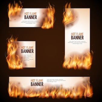 Feu de camp brûlant avec des bannières de vecteur de flamme chaude