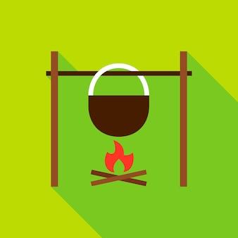 Feu de camp avec l'icône d'objet de bouilloire. illustration vectorielle design plat avec ombre portée.