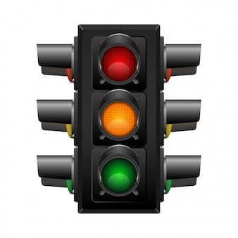 Feu de circulation 3d réaliste avec quatre directions de vue