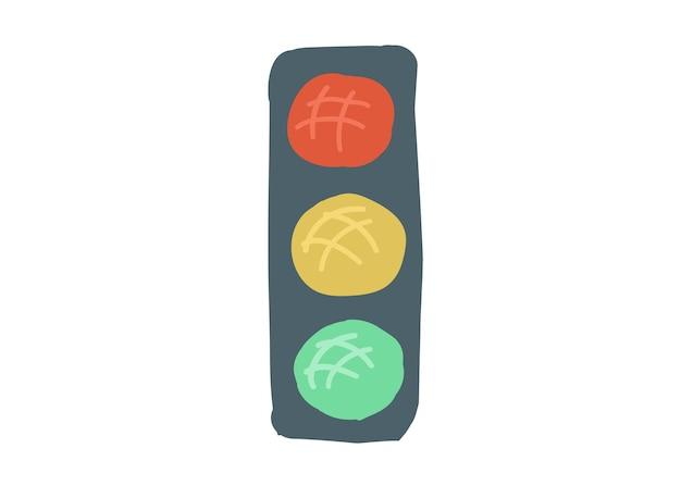 Feu de circulation routier style dessin animé simple main dessin illustration vectorielle