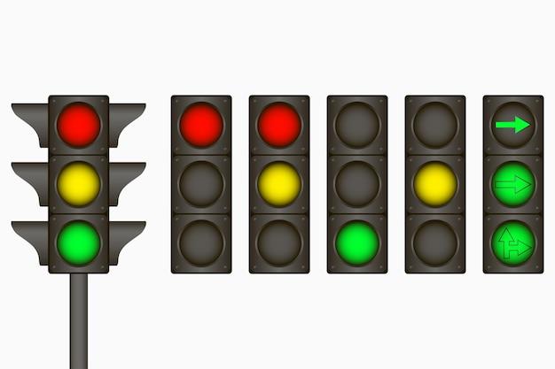 Feu de circulation signe électrique pour réguler le trafic sur la route avec des lampes vertes jaunes rouges