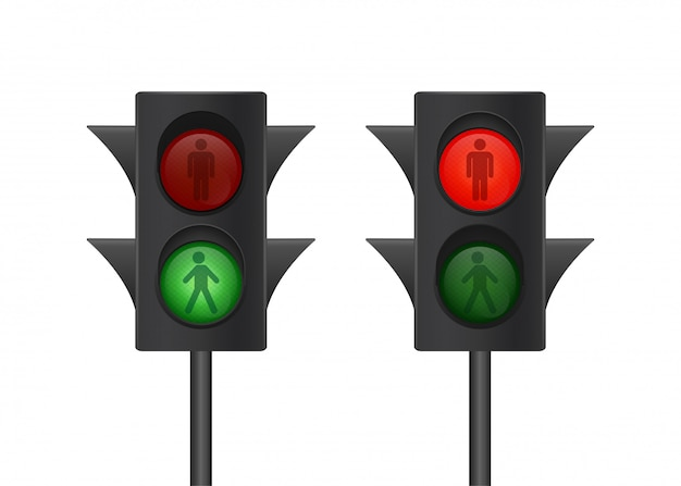 Feu de circulation . signe pour piétons. feu de circulation humain