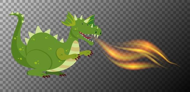 Feu de dragon vert sur fond transparent