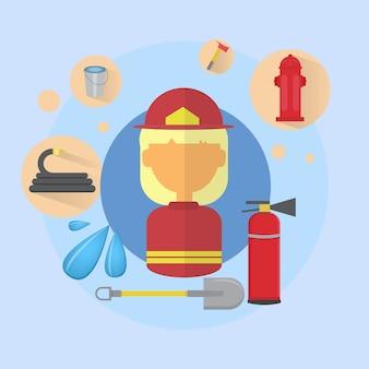Feu femme pompier travailleur icône plate vector illustration