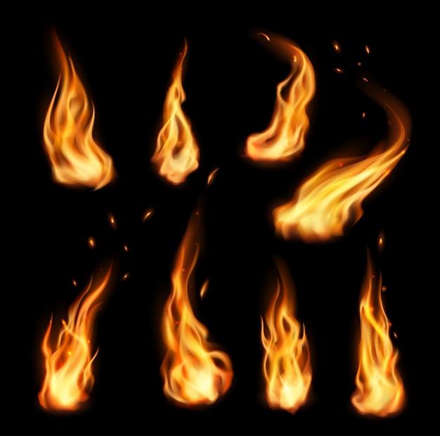 Feu, flamme de torche isolée de feu de camp
