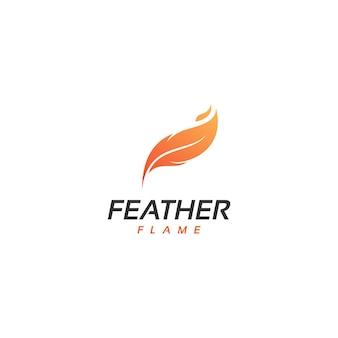 Feu, flamme, vecteur de conception de logo de plume