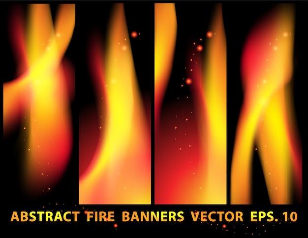Feu flammes bannière définie vecteur