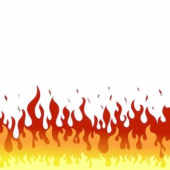 Feu flammes sur fond blanc