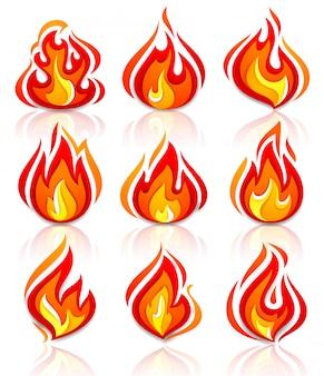 Feu flammes nouvel ensemble avec réflexion