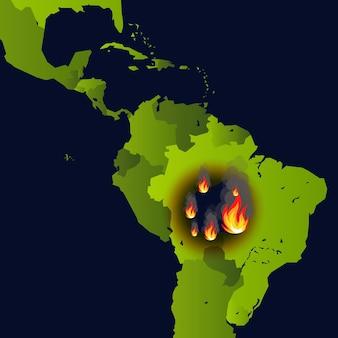 Feu de forêt feu de bannière sur carte catastrophe en amérique du sud journal qui brûle des fumées et