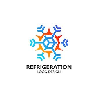 Feu et glace pour la conception de logo de réfrigération