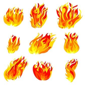 Feu, jeu d'icônes de flamme torche isolé sur fond blanc.