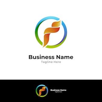 Feu lettre f modèle de conception de logo créatif