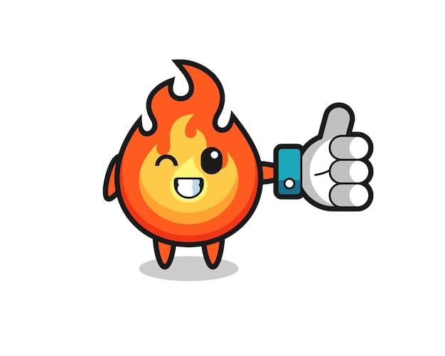Feu mignon avec symbole de pouce levé sur les médias sociaux, design de style mignon pour t-shirt, autocollant, élément de logo
