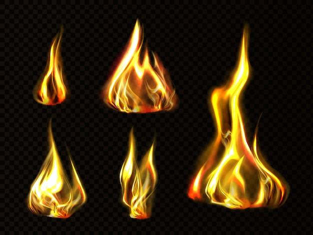 Feu réaliste, flamme de torche définie clipart isolé