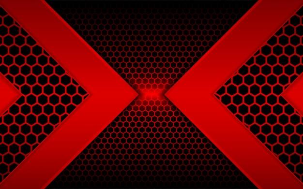 Feu rouge abstrait avec fond hexagonal