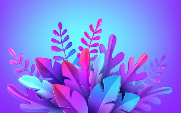 Feuillage 3d élégant et lumineux dans le style du néomorphisme de webdesign. modèle de bannière publicitaire, flyer, flyer, affiche, page web. illustration vectorielle eps10