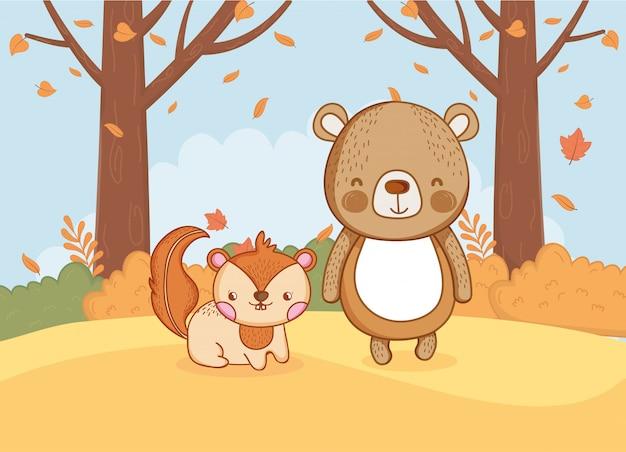 Feuillage animal mignon bonjour automne