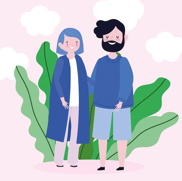 Feuillage de feuilles de personnage de dessin animé de parents de famille
