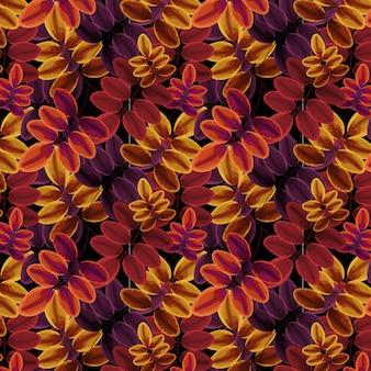 Feuillage motif automne couleurs chaudes