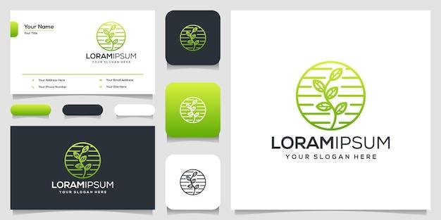 Feuille abstraite avec carte de visite de modèle de logo art ligne
