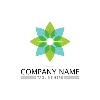 Feuille d'arbre et concept convivial de conception de logo vert