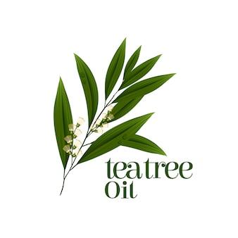 Feuille d'arbre à thé au design plat