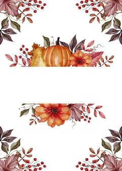 Feuille d'automne, citrouille, poire et pomme pour le cadre floral de fond