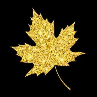 Feuille d'automne texturée à paillettes dorées. conception d'or d'automne. illustration vectorielle eps10