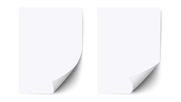 Feuille blanche de papier blanc avec coin recourbé et ombre, papier