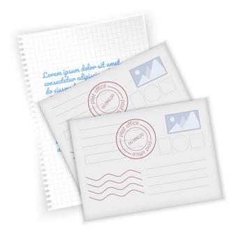 Feuille de cahier et cartes postales