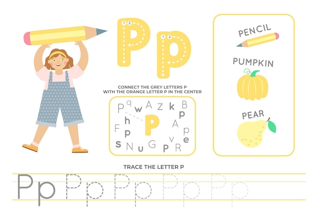 Feuille de calcul alphabétique avec la lettre p