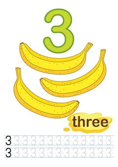 Feuille de calcul de bananes de fruits frais pour la maternelle et le préscolaire
