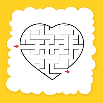 Feuille de calcul coeur labyrinthe pour les enfants