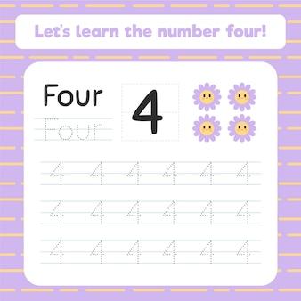Feuille de calcul de la création numéro quatre avec des fleurs