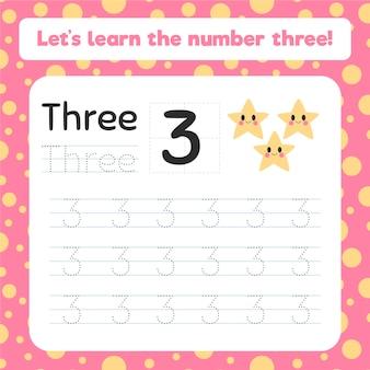 Feuille de calcul de la création numéro trois avec étoiles