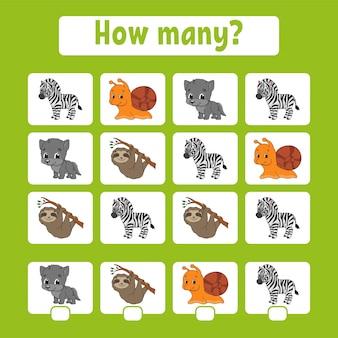 Feuille de calcul du jeu de comptage des animaux