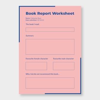 Feuille de calcul générale du rapport de livre bichromie minimaliste