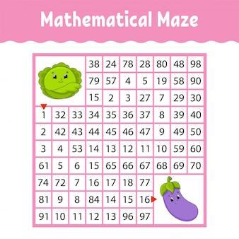 Feuille de calcul de labyrinthe carré mathématique avec des légumes de dessin animé