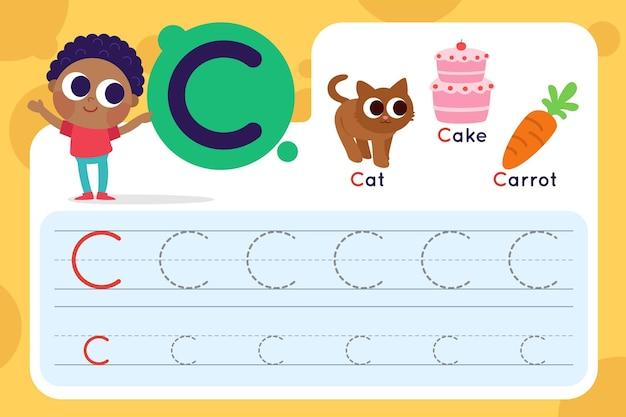 Feuille de calcul lettre c avec chat et gâteau