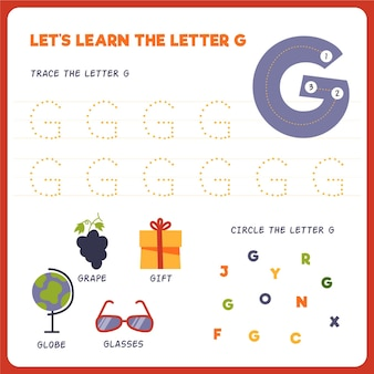 Feuille de calcul lettre g pour enfants