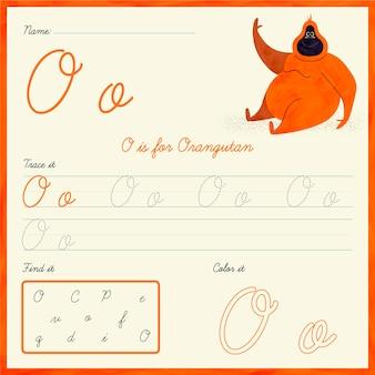 Feuille de calcul lettre o avec orang-outan