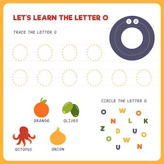 Feuille de calcul lettre o pour les enfants