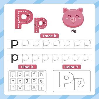 Feuille de calcul lettre p avec cochon