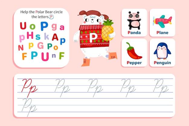 Feuille de calcul lettre p avec ours polaire
